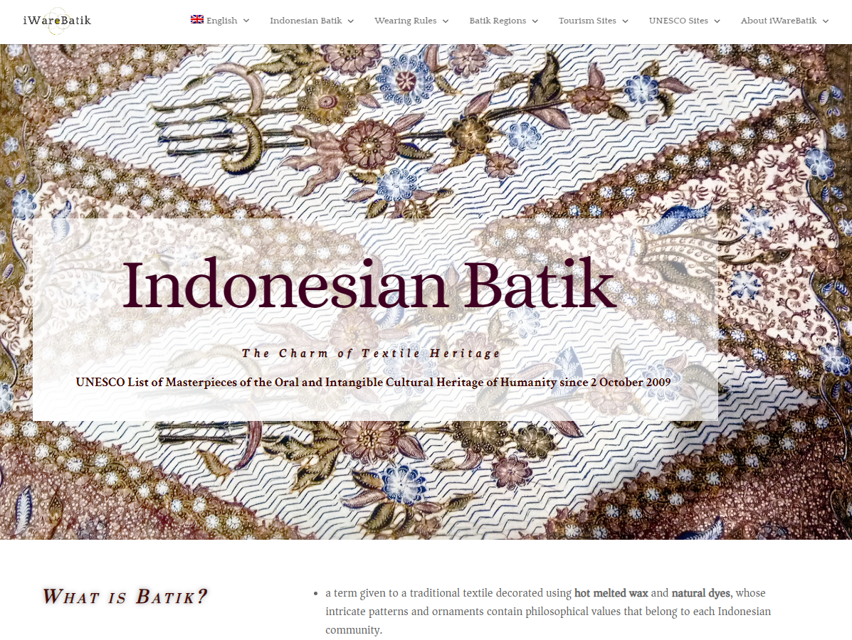 Indonesian Batik Heritage and Rural Tourism. The case of iWareBatik website and mobile app.