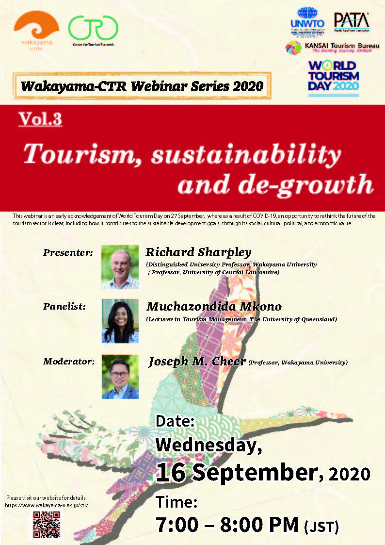 Webinar 'Tourism, sustainability and de-growth'