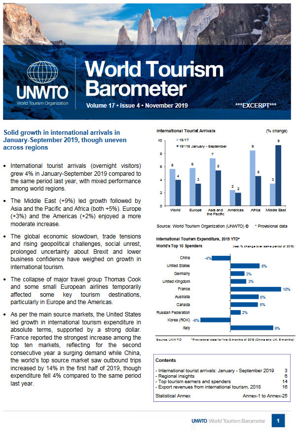 World Tourism Barometer - Volume 17- Issues 4 - Nov 2019
