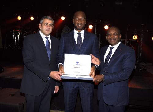 Mr. Zurab Pololikashvili, Didier Drogba, H.E.Mr. Siandou Fofana