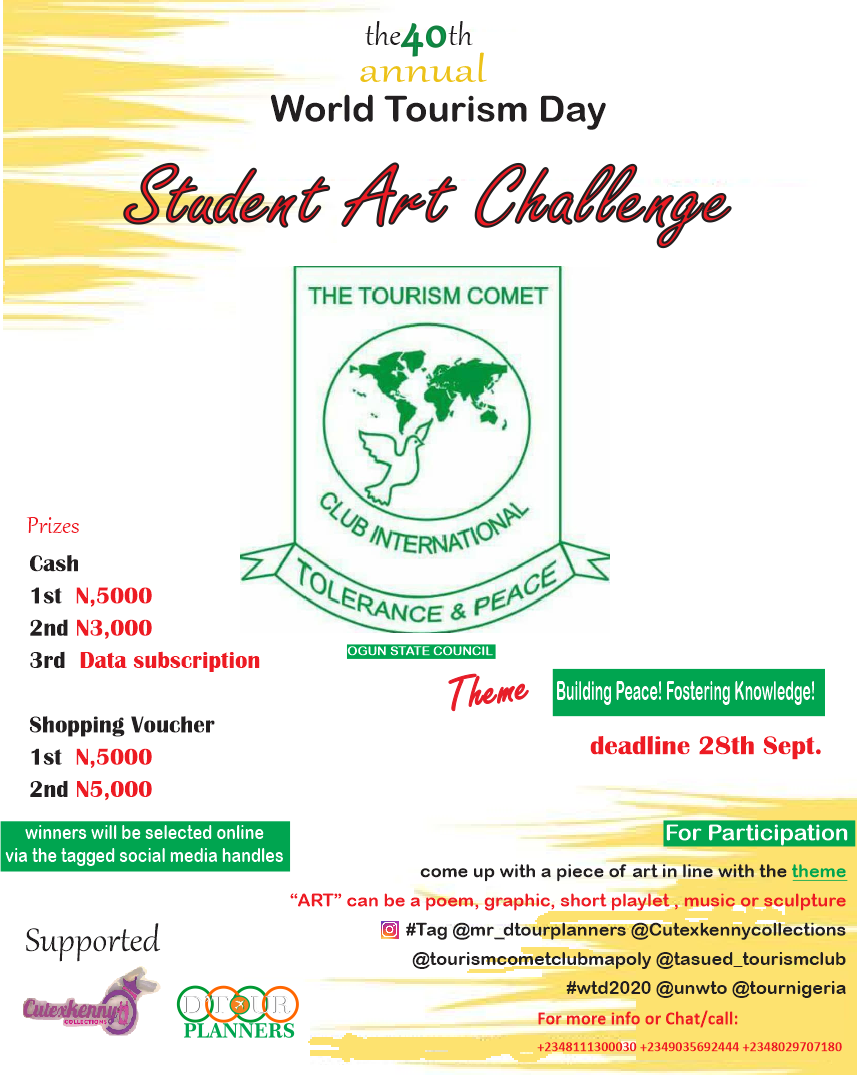 World Tourism Day 2020 : Art Student Art Challenge
