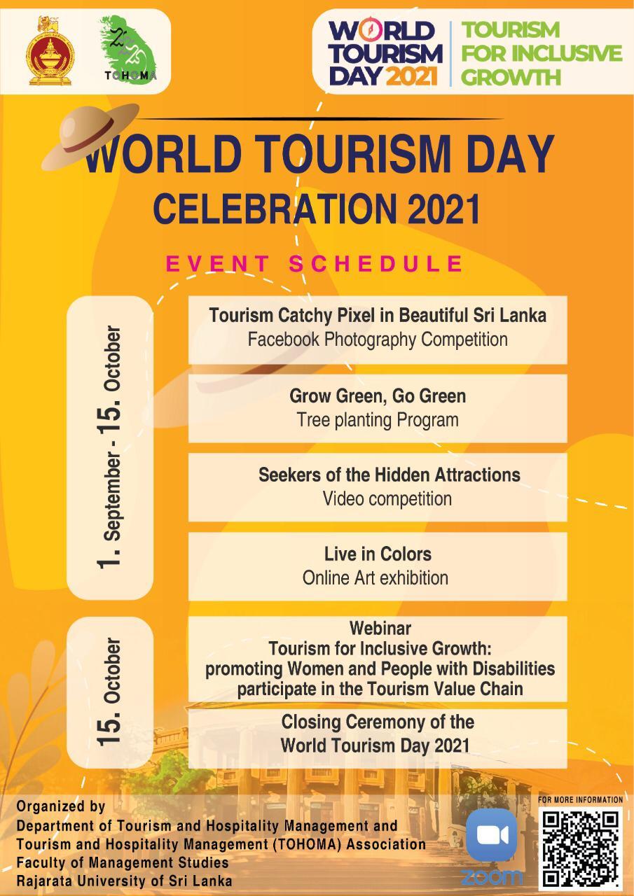 World Tourism Day Celebration 2021- Rajarata University of Sri Lanka