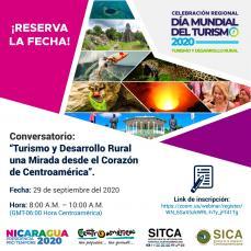 """CELEBRACIÓN REGIONAL DEL DÍA MUNDIAL DEL TURISMO. Conversatorio: """"Turismo y Desarrollo Rural, una mirada desde el Corazón de Centroamérica"""""""