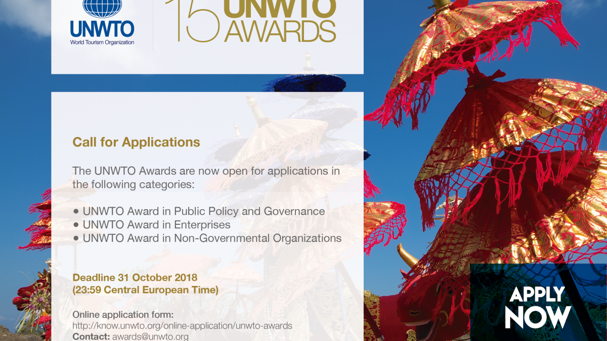 15th UNWTO Awards to recognize innovation and sustainability in tourism, applications open
